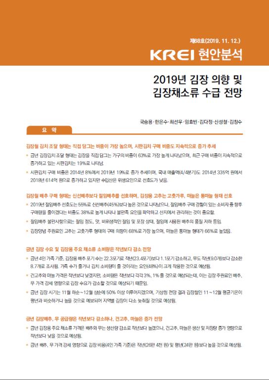 2019년 김장 의향 및 김장채소류 수급 전망