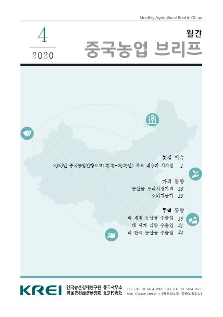 중국농업브리프 (2020.4) : 2020년 중국농업전망보고(2020-2029년) 주요 내용과 시사점